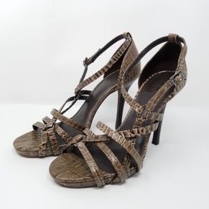 Tory Burch Strappy Snake Print Strappy High Heels